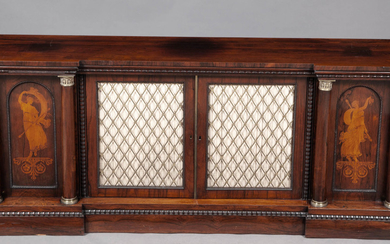 Regency Rosewood and Marquetry Ormolu-Mounted Side Cabinet