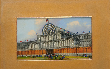 Reverse glass tinsel painting, Crystal Palace