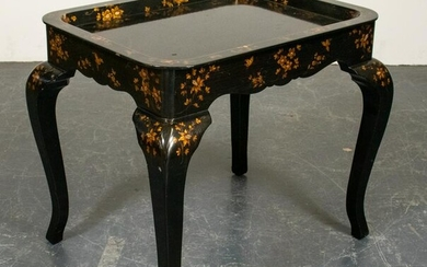Rococo Style Paint Decorated Ebonized Side Table