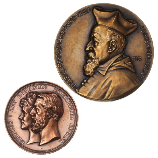 Romania, bronze medal 1883 for Pelesch Castle, 59 mm, 92.32 g; Hungary, bronze medal on the occasion of Pazmany University's 300th anniversary in 1935