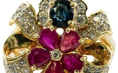 Ruby Sapphire Diamond Flower Ring 18K Gold