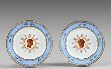 SÈVRES Two hard porcelain plates decorated in the center with...