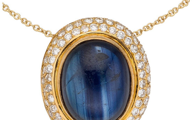 Sapphire, Diamond, Gold Pendant-Necklace The pendant features an oval-shaped...