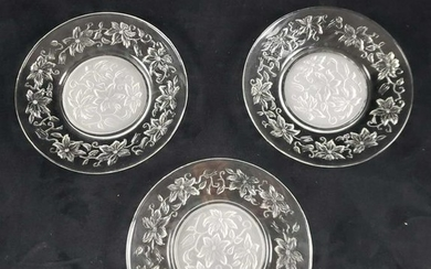 Set of 3 Etched Glass Floral Plates