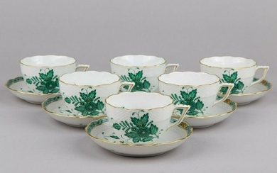 Set of Six Antique Herend Chinese Bouquet Green XLarge