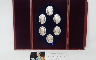 Set of Six Silver Portrait Medallions of The Royal Family by...