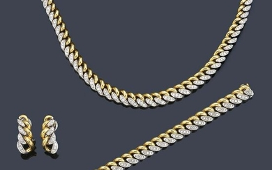 Set of necklace, bracelet and earrings in 18K white and