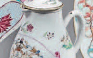 Small Chinese porcelain pot and lid. Qianlong
