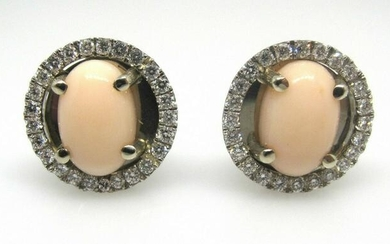 Sophisticated Napolitano Pink Coral Diamond White Gold