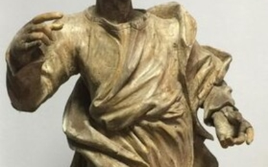Statuette in carved wood representing a Saint. Viennese baroque work from the 17th century.