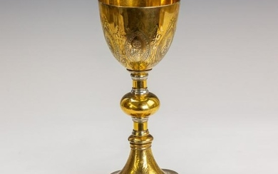 Sterling Silver Gilt Relief Church Chalice 481 gr