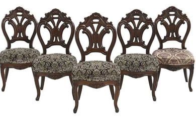Suite of Five Continental Walnut Dining Chairs