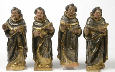 Suite of four apostles in carved, polychromed and gilded wood. Spanish work. Period: end of the 17th century. (*). H.:+/-34cm.