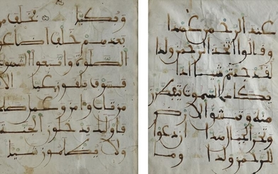 TWO ANDALUSI KUFIC SCRIPT QURAN FOLIOS, ANDALUSIA, 13TH