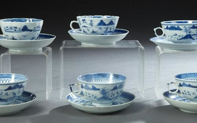 Twelve Pieces of Chinese Blue and White Porcelain, 20th