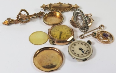Two 9ct Gold Ladies Wristwatches, 9ct gold brooches, amethys...
