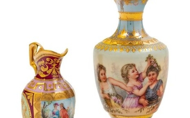 Two Vienna Painted and Parcel Gilt Porcelain Articles