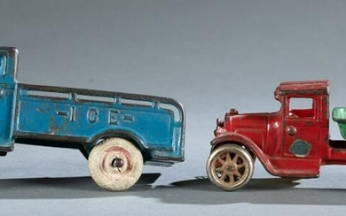 Two cast iron Arcade automobiles.
