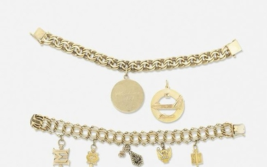 Two gold charm bracelets and a 14k gold pendant