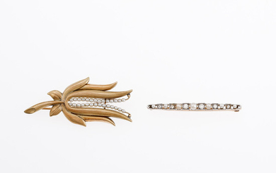 Two gold, diamonds and pearls brooches, second third of the 20th Century.