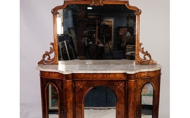 VICTORIAN MARQUETRY INLAID FIGURED WALNUT CHIFFONIER WITH WH...