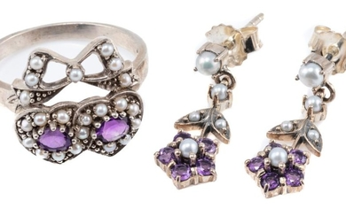 VICTORIAN STYLE AMETHYST AND PEARL RING AND EARRINGS; double heart ring with bow, set with oval cut amethyst and seed pearls, size M...
