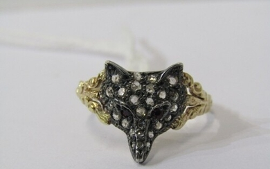 VINTAGE 18CT YELLOW GOLD DIAMOND & RUBY FOX HEAD RING, well ...
