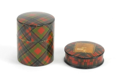 Victorian Tartanware stamp box and cotton reel box, the