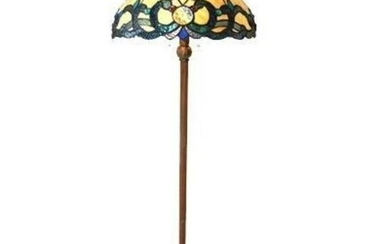 Victorian Tiffany-style Stained Glass Floor Lamp