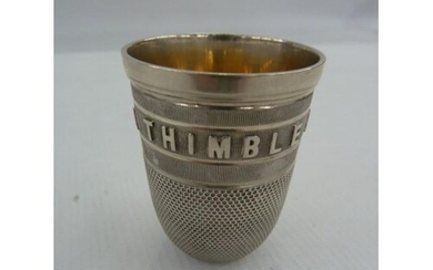 Victorian silver-coloured metal thimble whisky tot inscribed...