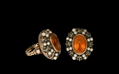 Vintage Gold Ring with Diamonds, Pearls and Citrine