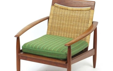 Vintage Scandinavian rosewood lounge chair with cane