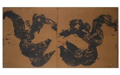 WALASSE TING Chinese (1929-2010) Untitled (abstract calligraphy) Ink on paper, canvas, wood