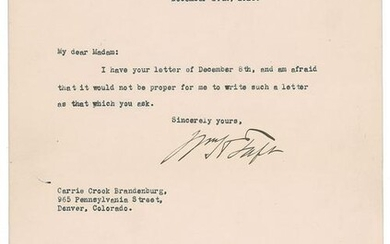 William H. Taft Typed Letter Signed