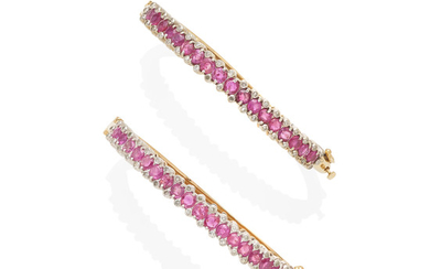 a pair of gold, diamond and ruby bangles