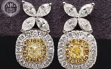 0.80ct Diamonds 100% Natural - 18 kt. Gold - Earrings - ***NO RESERVE PRICE***