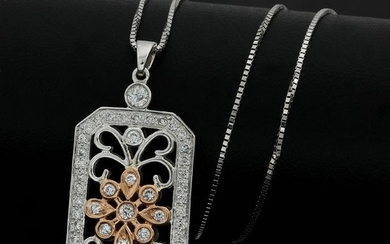 14 kt. White gold, Rose Gold - Necklace - 0.50 ct Diamond