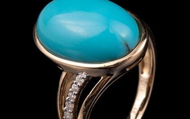 14 kt. Yellow Gold, Turquoise and Diamond Ring