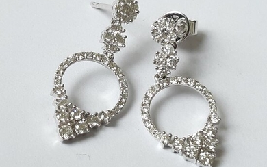 18 kt. White gold - Earrings - 1.10 ct Diamond