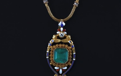 18 kt. Yellow gold - Necklace with pendant - 12.00 ct Emerald - Diamonds