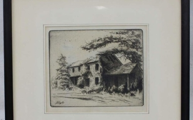 19 century Landscape Lithograph Etching, Signed (Print)