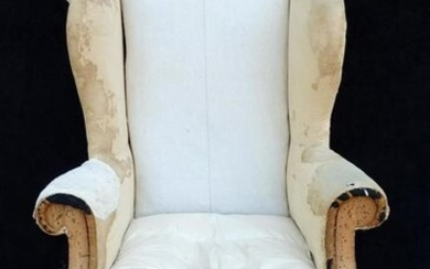"19TH C. DECONSTRUCTED ENGLISH WING CHAIR 50""H 32""W 22""D"