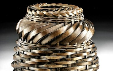 19th C. Japanese Woven Bamboo Basket