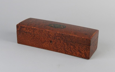 19th century French burr walnut box with brass inlay.