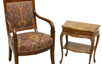 (2) EMPIRE STYLE ARMCHAIR & LOUIS XV STYLE TABLE