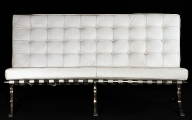 2-seater bench, Bauhaus style from 1928/29, chrome-plated...