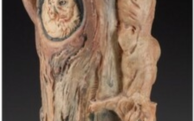 27033: A Weller Woodcraft Ceramic Vase with Owl and Squ