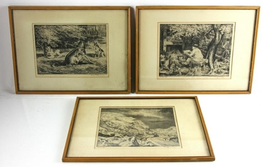 (3) Etchings by Harry Wickey