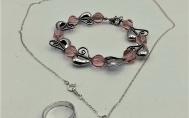 3 Pieces, Sterling Silver Necklace, Ring, Bracelet