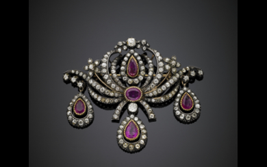 Ruby and diamond silver and gold volute and flower...